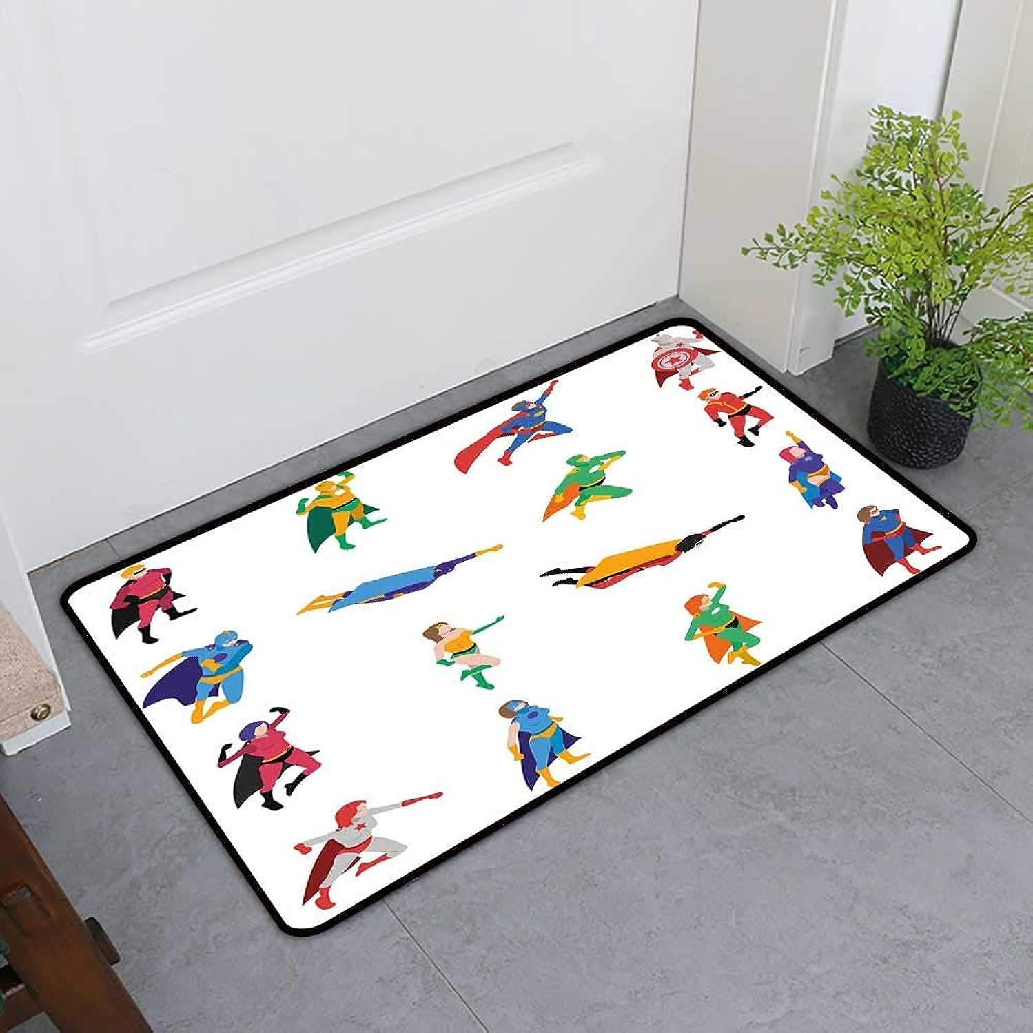 Entrance Door Mat, Superhero Custom Doormats for Bedroom, Heroic Characters with Supernatural Powers Popular Strip Protector Icons Image (Multicolor, H24 x W36)
