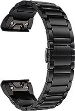 LDFAS Fenix 6X/5X Plus Band, Titanium Metal Quick Fit 26mm Watch Bands Compatible for Garmin Fenix 6X/6X Pro/5X/5X Plus/3/3HR Smartwatch, Black