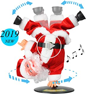 SdeNow Singing Dancing Santa Claus, Christmas Inverted Rotating Santa Claus Xmas Electric Musical Dolls Electric Plush Toy Ornaments Xmas Gift for Kids