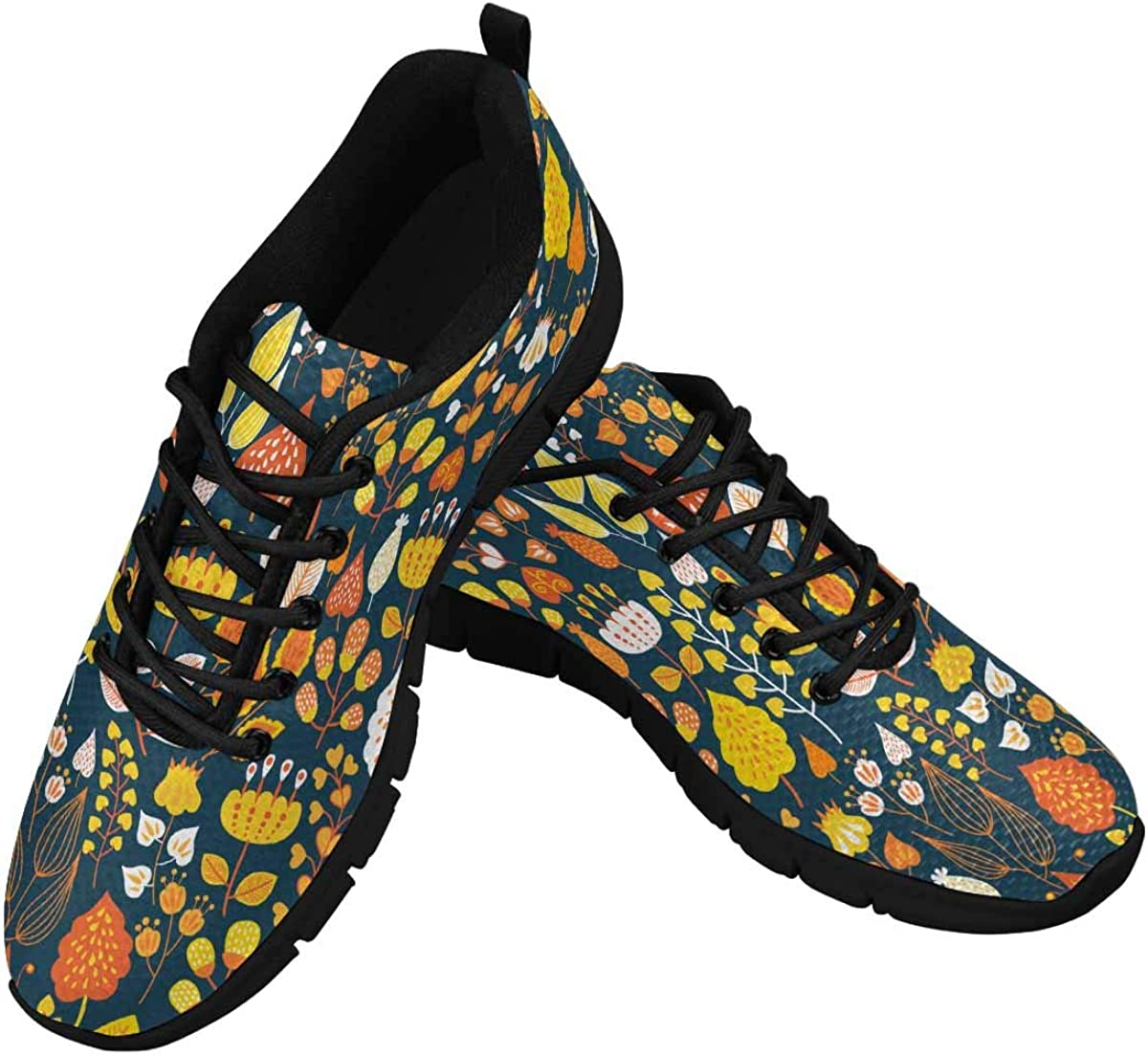 INTERESTPRINT Autumn Floral and Flower Background Women's Sneaker Lace Up Running Comfort Sports Shoes