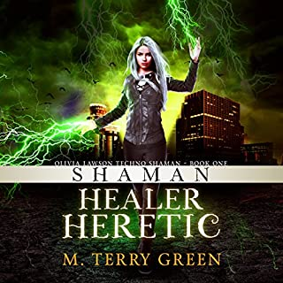 Shaman, Healer, Heretic     Olivia Lawson Techno-Shaman, Book 1              By:                                                                                                                                 M. Terry Green                               Narrated by:                                                                                                                                 Celia Aurora de Blas                      Length: 9 hrs and 9 mins     50 ratings     Overall 3.8