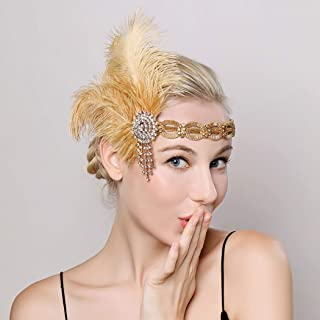 Asooll 1920s Gold Flapper Headband Roaring 20s Gatsby Headpiece Feather Headband Prom Festival Flapper Hair Accessories for Women and Girls