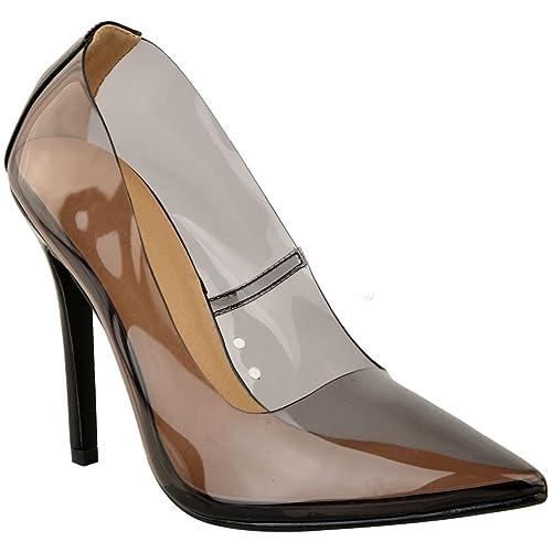 30edcab4733 Fashion Thirsty Heelberry® Womens Ladies Perspex Clear Court Shoes Stiletto  High Heels Kim K Pumps