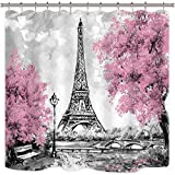 Riyidecor Paris Cortina de Ducha Torre Eiffel Paisaje de la Ciudad Europea Árbol Rosa Francia Abstracto Tela de poliéster Impermeable baño Home Decor Set 72 x 72 Pulgadas 12 Ganchos de plástico