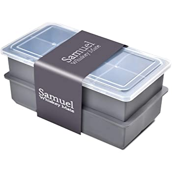 Samuelworld Ice Cube Tray With Lids Large Size Silicone Flexible 8 Cavity Ice Maker for Whiskey and Cocktails or Homemade, Keep Drinks Chilled (2pc/Pack) Grey …