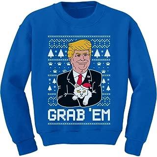 Tstars Donald Trump Grab'em Funny Ugly Christmas Youth Kids Sweatshirt