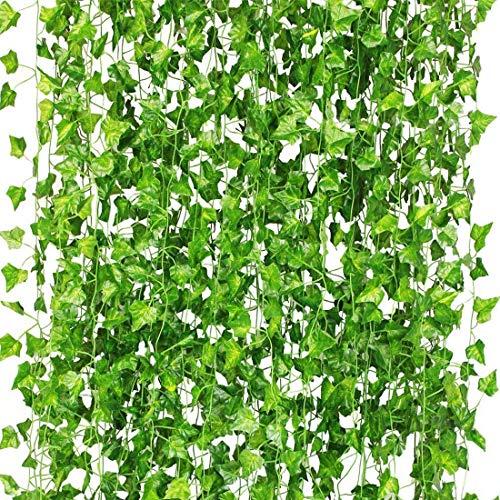 HDCooL 12 STK Künstlich Efeu Girlande (Jede Länge ca. 2.2 m), Vorhang Hänge Pflanze Efeu Girlande Künstlich, Künstliches Efeu Blätter Deko für Büro, Küche, Garten, Party Wanddekoration.