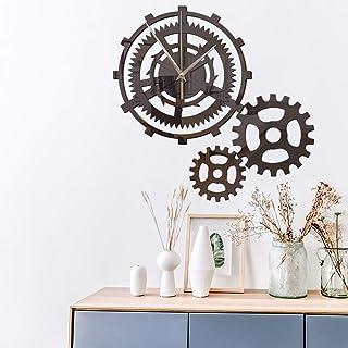3D Stickers Muraux Rétro Industriel Engrenage À Vent Personnalité Créative Horloge Murale Salon Diy Mute Horloge Horloge M...