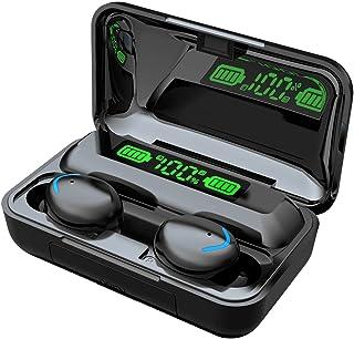 TWS - Auriculares inalámbricos F9-5 Bluetooth 5.1 Hi-Fi estéreo con cancelación de ruido, control táctil, mini auriculares con micrófono integrado HD con funda de carga
