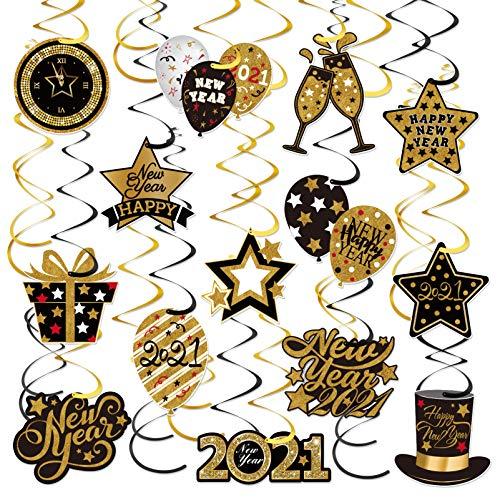 TOYANDONA 30Pcs 2021 Remolinos Colgantes de Año Nuevo con Tarjeta de Celebración Suministros de Fiesta de Fin de Año Kit de Remolinos de Fiesta para Banquete Festivo