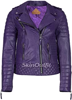 SKINOUTFIT Women's Leather Jackets Motorcycle Biker Genuine Lambskin XS Purple