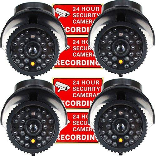 VideoSecu 4 x Dummy Security Camera Fake Bullet Cameras Infrared LEDs Flashing Light Home CCTV Surveillance 1QU