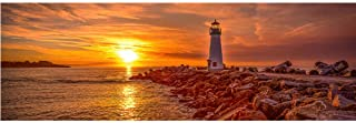 Beautiful Sunset Seaside Poster Lighthouse Picture Canvas Painting Prints for Living Room Bedroom Decoration 24x71 inches ...