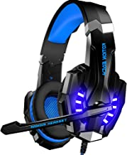 BENGOO Stereo Gaming Headset Headphones for Xbox One PS4 PC Controller Games, Over Ear Noise Cancelling Headphones with Microphone, LED Light, Bass Surround, Soft Memory Earmuffs for Mac Nintendo