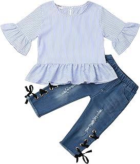 Geagodelia Ensemble de Vêtements 2 Pièces Bébé Fille T-Shirt Chemisier à Manches Courtes Blouse en Dentelle à Volants + Pa...