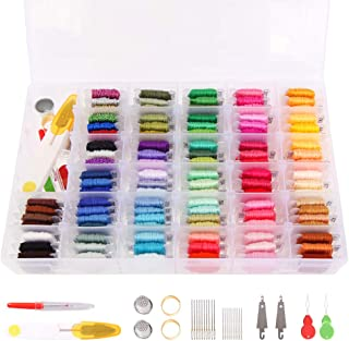 Embroidery Floss 100 Colors Friendship Bracelets String Includes Metallic Thread,Embroidery Threads with Organizer Storage Box - Cross Stitch Kits and 40Pcs Cross Stitch Tools - Thread Craft Supplies