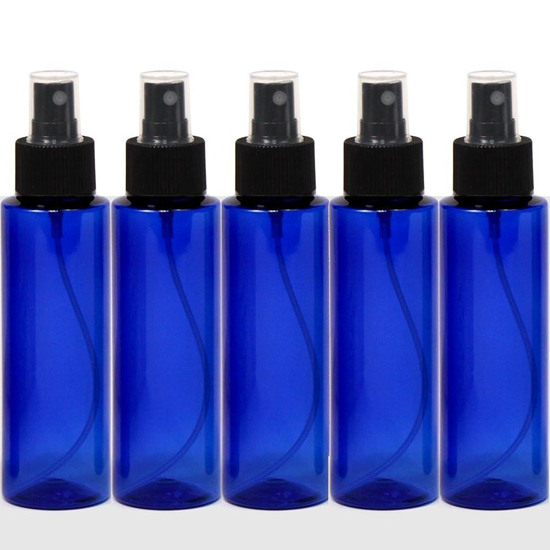 半導体シートアセスプレーボトル50mLブルー黒ヘッド5本ストレートペットボトル遮光性青色おしゃれ容器bu50sbk5