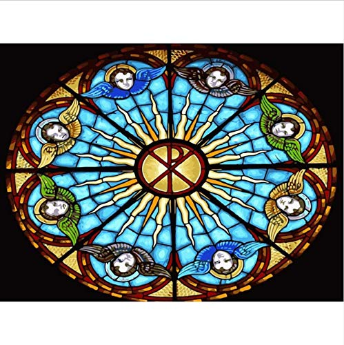 CYKEJISD Jigsaw Puzzle 1000 Piece 3D Puzzle Church Stained Glass Window Landscape 75X50Cm