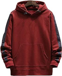 Men's sweater fleece round neck stitching print long-sleeved sports loose hooded sweatshirt cotton top