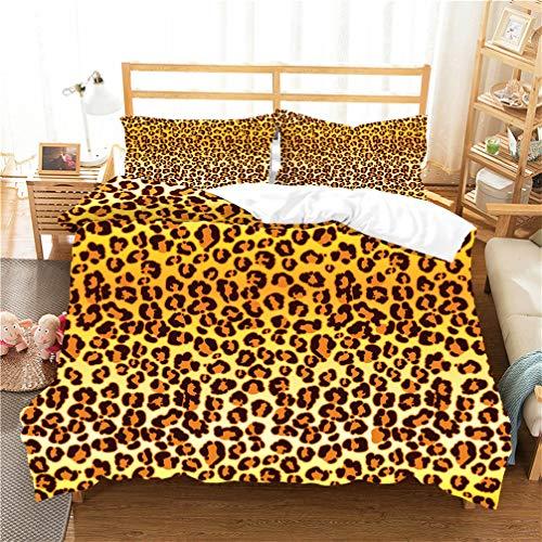 WENYA Negro Blanco Amarillo Verde Juego de Cama Camuflaje Leopardo Cebra Vacas Funda Nórdica y Funda de Almohada Microfibra Niño Niña Adolescente (Estilo 3, 150 x 200 cm - Cama 90 cm)