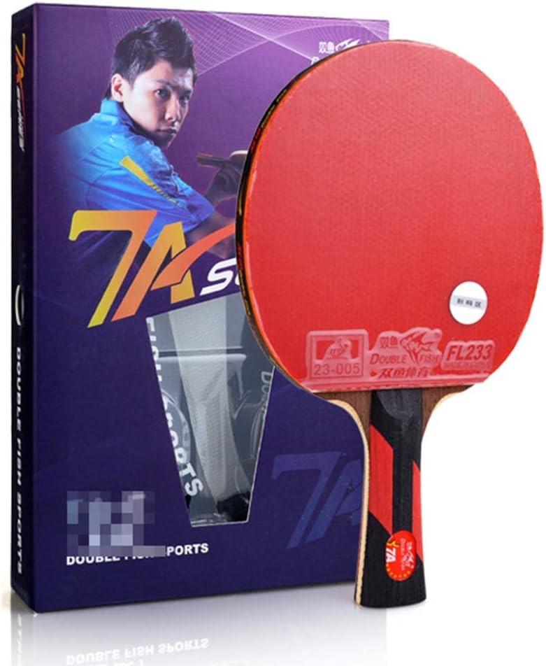 KCGNBQING Mesa de Tenis Profesional de Mesa con Estuche, 5-9 Estrellas Paddle Ping Pong, for Principiantes/intermedio/Ofensivo/Competencia / 8 Estrellas/Mango Corto