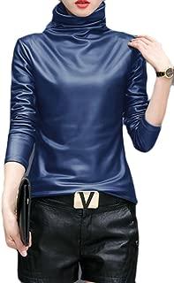 Women Slim Turtleneck Faux Leather Long Sleeve Blouse Top Shirt