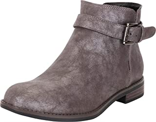 Cambridge Select Women's Round Toe Buckle Strap Low Stacked Heel Ankle Bootie