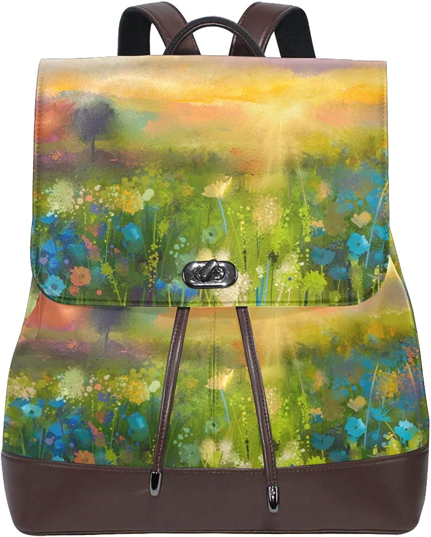 DEZIRO Leather Oil Painting Flowers Dandelion Cornflower Daisy School Pack Backpacks Travel Bag