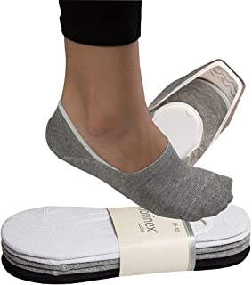 6 Pairs No Show Invisible Socks Premium Turkish Cotton with Non-Slip Silicone Grip Grey-Black-White Ankle Trainer Socks fo...