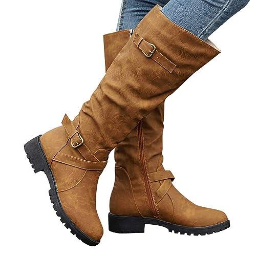 9d0b78ac8fad9 Women Casual Boots, Familizo Women Knee High Calf Biker Boots Ladies Zip  Punk Military Combat