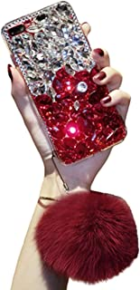 Aulzaju Case for Samsung Note 10, Note 10 Bling Diamond Case 3D Handmade Crystal Rhinestone Case with Soft Furry Ball for Galaxy Note 10,Shockproof TPU Hybrid Case for Girls Women-Silver Red
