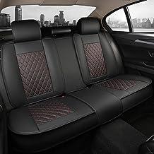 Giant Panda Rear Bench Car Seat Cover Fit Most 5-Seater Sedans SUVs Pickup Trucks (Black+Red Line)
