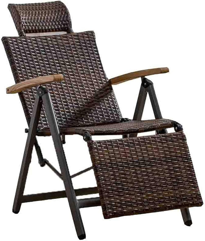 ADAHX Outdoor Indoor Wicker Rattan Schaukelstuhl, verstellbare Schwerelosigkeit Lounge Chair Vintage Recliner mit U-frmigen Kopfstütze für Patio, Pool, Deck, Home, Gewicht Kapazitt 440 £