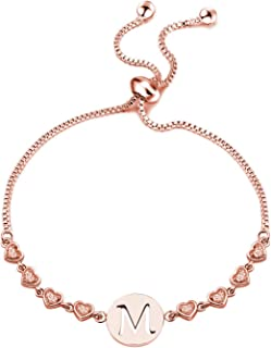Initial Bracelet Rose Gold Letter Bracelet Alphabet Bangle Adjustable Jewelry Gift for Women Girls with Delicate Heart Love Charm for her