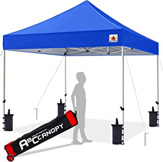 ABCCANOPY 10x10 Canopy Tent Pop up Canopy Outdoor Canopy Commercial Instant Shelter with Wheeled Carry Bag, Bonus 4 Canopy Sand Bags, Blue