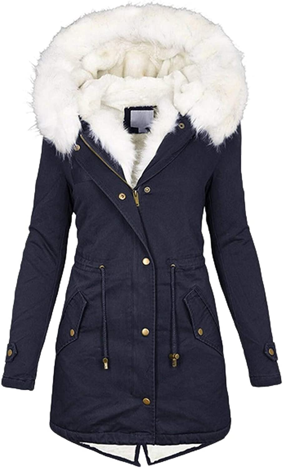 BOXIACEY Winter Coats for Women Warm Hooded Pocket Hoodies Thick Padded Outerwear Big Collar Jackets
