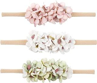 Baby Girl Floral Nylon Headband Elastic Hair Band Bows Flower Wraps For Newborn Infant Toddler Pack of 3