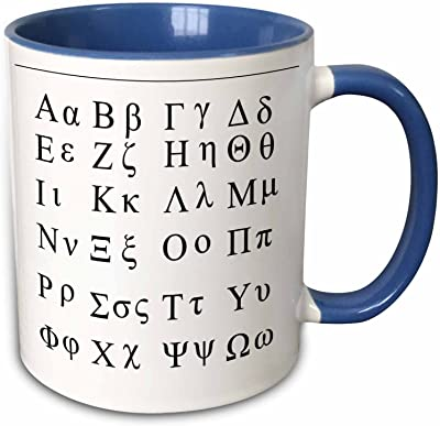 """3drose Mug 38168_ 6""""ギリシャ文字"""" 2つトーンブルーマグカップ、11オンス、ブルー/ホワイト"""