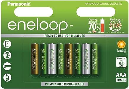 Panasonic 松下 eneloop AA Ready-to-Use Mignon NI-MH 电池 BK-3MCCE/2BE (1.900 毫安) - 多种颜色 8er Pack Botanic