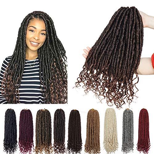 6 Packs 16 inch Fauxs Locs Crochet Hair Goddess Crochet Braids Full Head Hair Extensions Synthetic Fibre Kanekalon Box Braid Braiding with Wavy Curly Ends for Women Black Mix Light Auburn