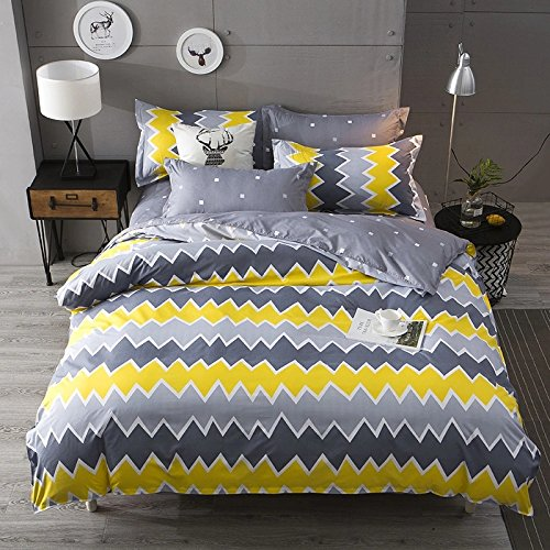 HUESLAND by Ahmedabad Cotton 144 TC Cotton King Bedsheet with 2 Pillow Covers, Yellow and Grey