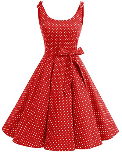 Bbonlinedress 1950er Vintage Polka Dots Pinup Retro Rockabilly Kleid Cocktailkleider Red White Dot XL