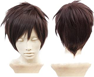 Anogol Hair Cap + Dark Brown Anime Cosplay Wig for Boy Brown Wigs Synthetic Cosplay Hair Wigs