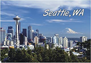 Space Needle, Seattle, WA, Washington City Skyline, Mount Rainier, Travel, Souvenir, Refrigerator, Locker Magnet 2 x 3 Fridge Magnet