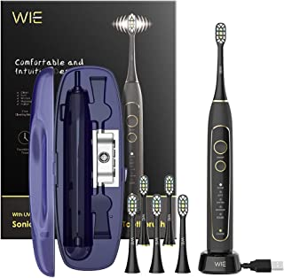 Electric Toothbrush, WIE Rechargeable Auto Sonic Electric Toothbrush with UV Sanitizing Charging Case, Smart Timer, 5 Brushing Modes, IPX7 Waterproof Travel Toothbrush with 6 Replacement Brush Heads