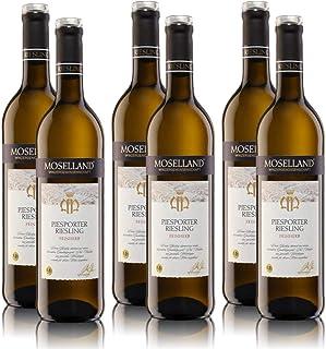 6 Flaschen Moselland Piesporter Riesling Mosel, feinherb, sortenreines Weissweinpaket 6x0,75l