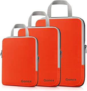 Compression Packing Cubes, Gonex Travel Organizers Upgraded 3PCS L+M+S(Orange)