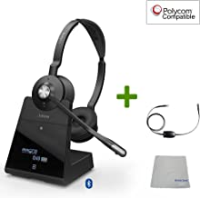 Polycom Compatible Jabra Engage 75 Wireless Headset Bundle with EHS Adapter, 9559-583-125-PLY | VVX and Soundpoint Phones, Bluetooth, PC/MAC, USB, Skype for Business (Stereo - EHS - Cloth)