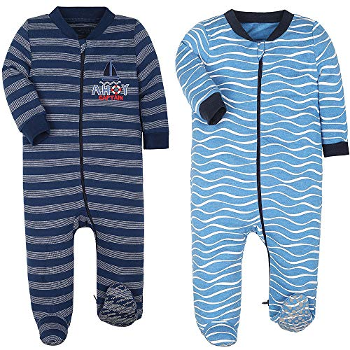 HONGLIN 6-9 Month Sleepers Baby Boy Pajamas Cotton Footed Pjs, Blue...