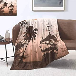 Luoiaax Ocean Commercial Grade Printed Blanket Pirate Ship on Misty High Seas Palm Trees Sailboat Vessel Grunge Background Queen King W60 x L70 Inch Salmon Army Green